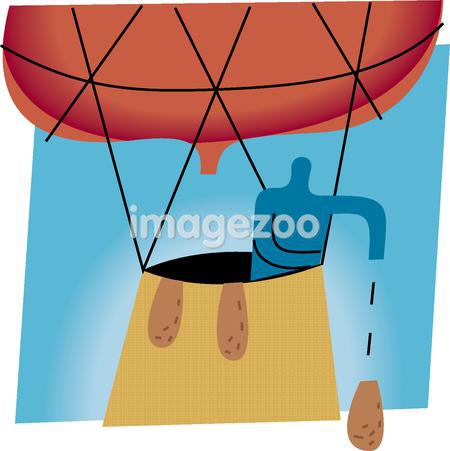 Silhouette of a man dropping a weight from a hot air balloon