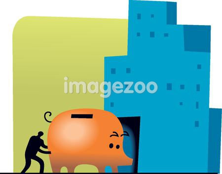 Silhouette of a man pushing a giant piggy bank into a building