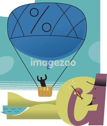 Illustration of a man hiding behind a hill, aiming a dart at a hot-air balloon with a percentage sign on it