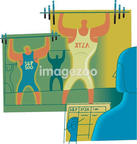 Weightlifters symbolizing stock market strengths