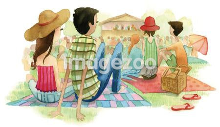 A watercolor illustration of people at an outdoor music festival