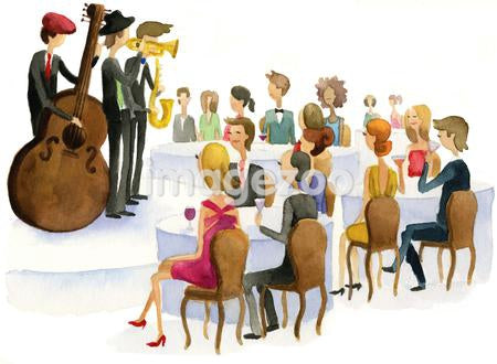 A watercolor illustration of people watching a jazz band perform