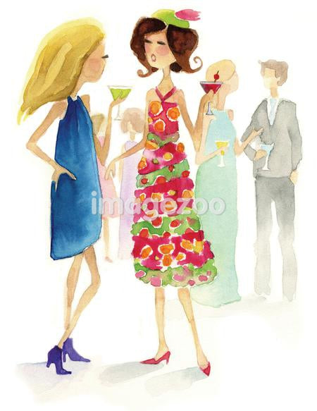 A watercolor illustration of people at a cocktail party