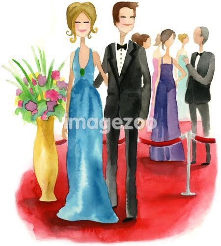 A watercolor illustration of a couple on the red carpet