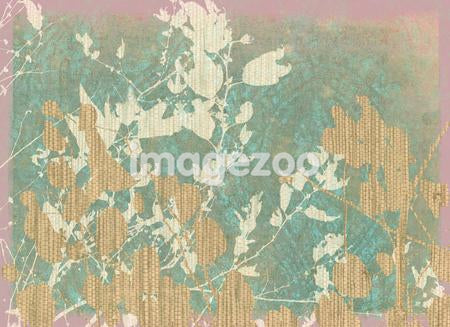 A print depicting layers of tree leaves in muted colors