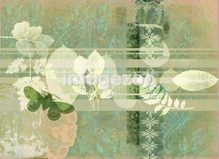 A print consisting of layers of leaves, flowers, bugs and patterns