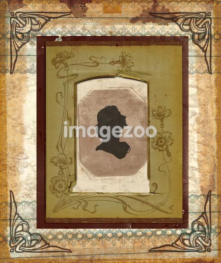 An illustration of a Victorian shade silhouette with layered framing elements