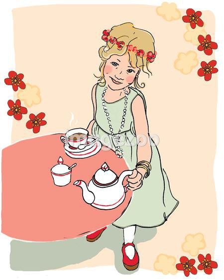 An illustration of a young girl having a tea party