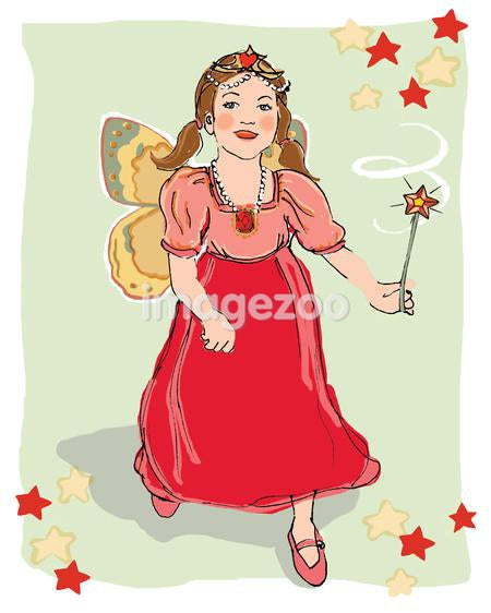 An illustration of a young girl dressed up as a fairy