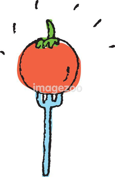A tomato on a fork