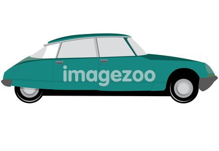 A blue vintage car on a white background