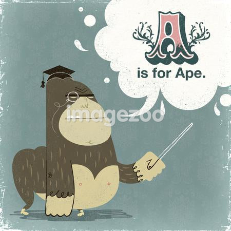 An ape with a graduation hat
