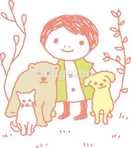 A child posing with animals