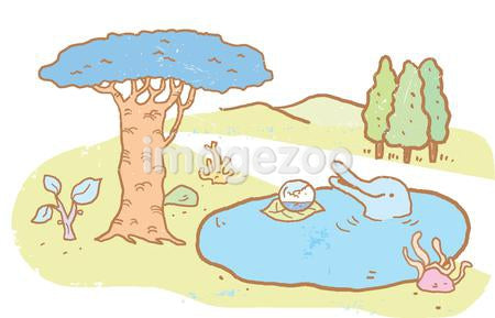 Animals in a pond near a tree