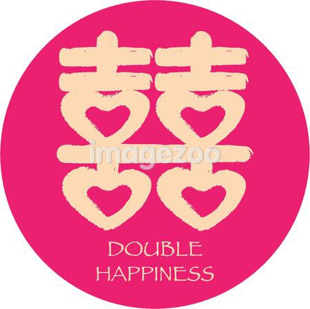 Double happiness against white background