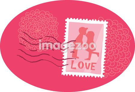 A stamp showing two kids kissing against white background
