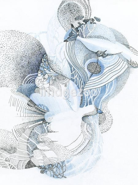 A drawing created with dots in blue and black depicting nature and movement