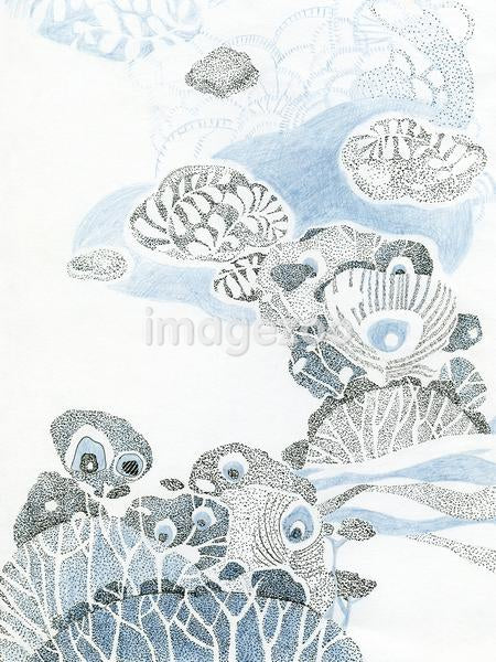 A drawing created with fine detail in blue and black depicting nature