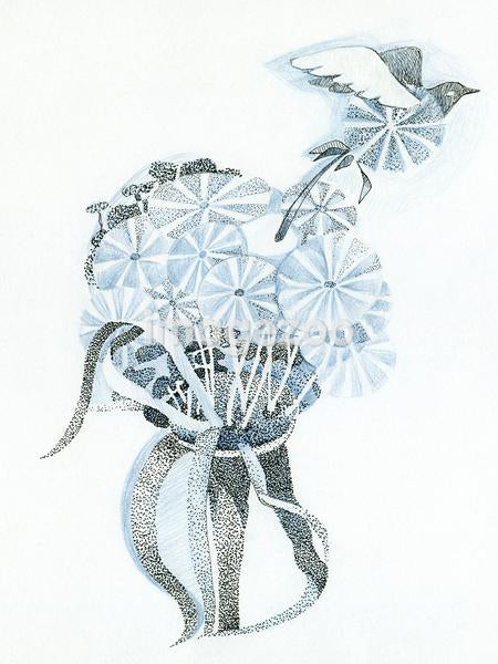 A drawing created with fine detail in blue and black depicting a bouquet of flowers and a flying bird