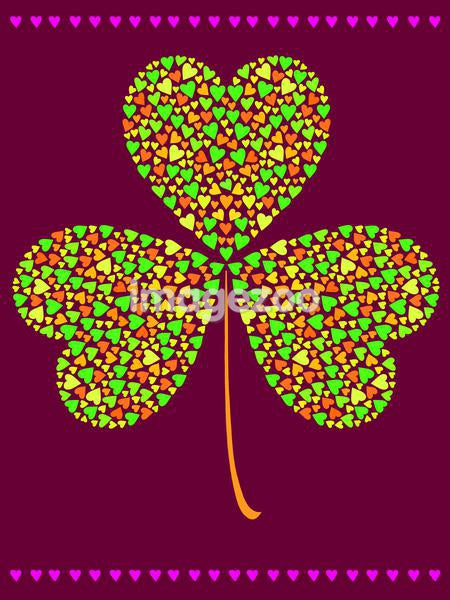 A three leaf clover made of smaller hearts