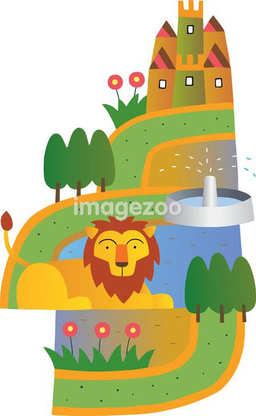 A lion resting on a winding path to a castle
