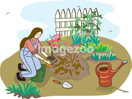 A drawing of a woman tree planting in her garden