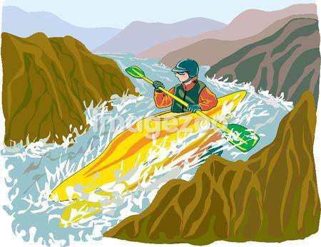 An illustration of a man whitewater kayaking in extreme conditions