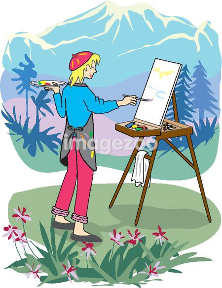 A woman painting a nature scene of amongst mountains and valleys