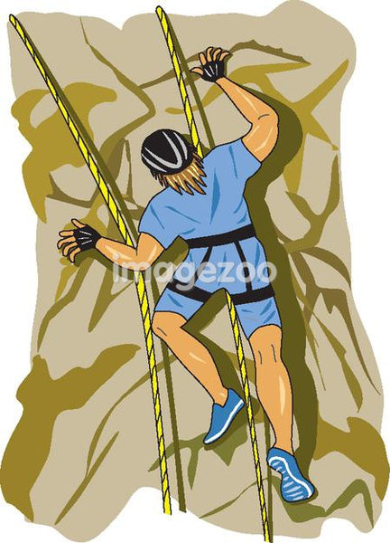 An illustration of a man rock climbing