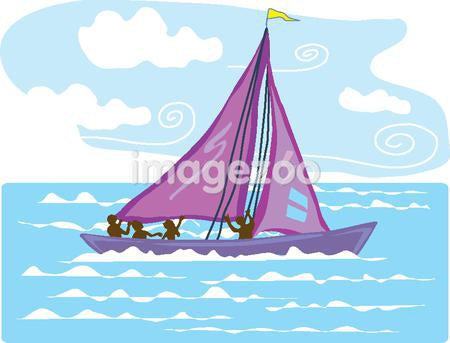 An illustration of people sailboating