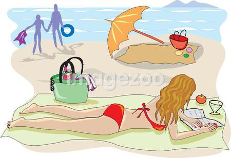 A woman reads a book while relaxing at the beach
