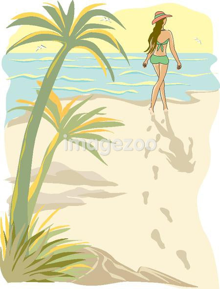 A drawing of a woman walking on the beach