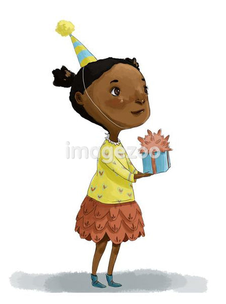 A little girl wearing a party hat and holding a present