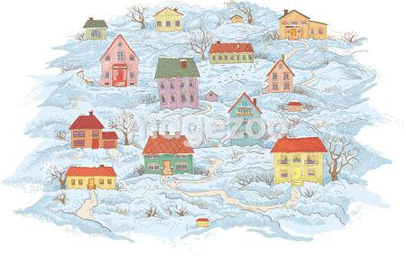 A wintry scene of houses