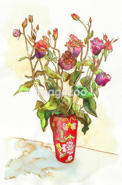 A watercolor painting of a vase of roses