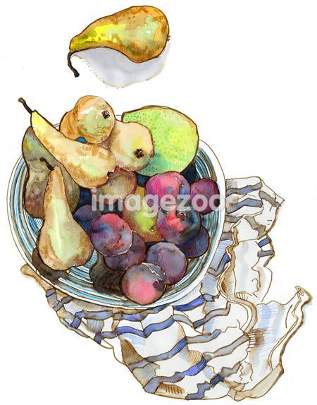 A watercolor painting of a bowl of fruit