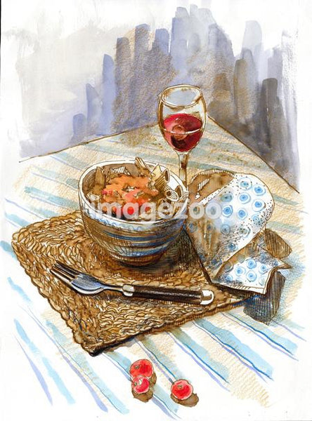 A watercolor painting of a bowl of food and a glass of wine