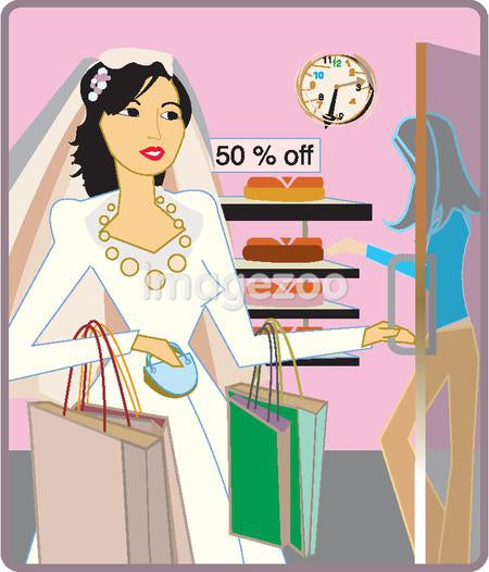 A bride doing some shopping