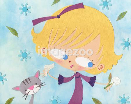 A paper cut illustration of a girl with allergies surrounded by flowers and next to a cat