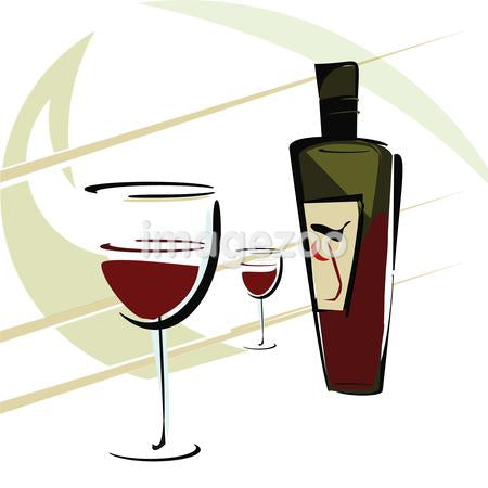 A drawing of glasses of wine