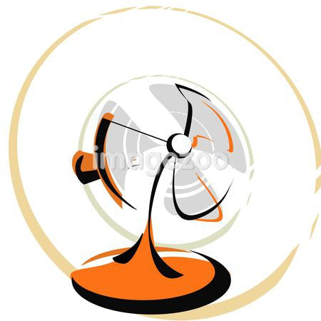 A pictorial illustration of an electric fan