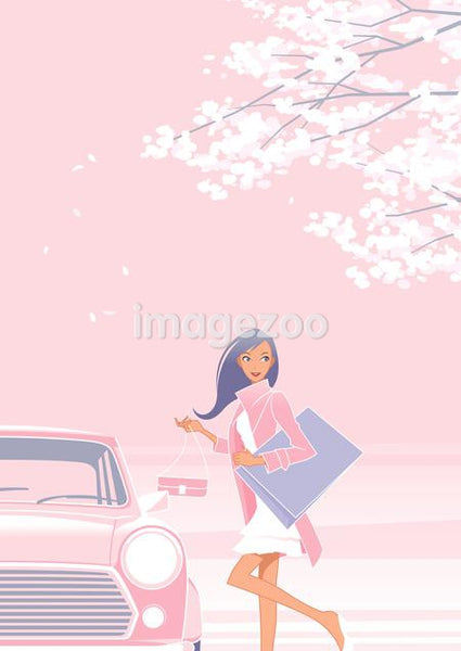 Woman opening her car in winter