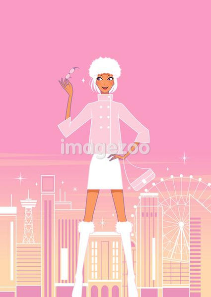 Woman standing with london cityscape behind her