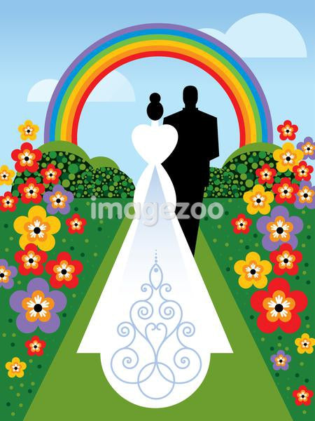 A bride and groom walking down the aisle under a rainbow