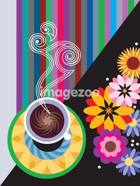 A steaming cup of coffee on a colorful background