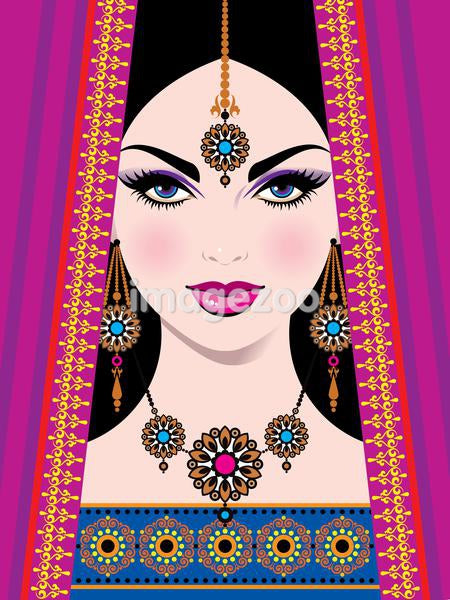 A close-up illustration of an Indian bride