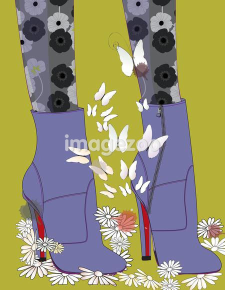 Closeup of a woman's feet in purple ankle boots and floral tights, surrounded by butterflies and flowers