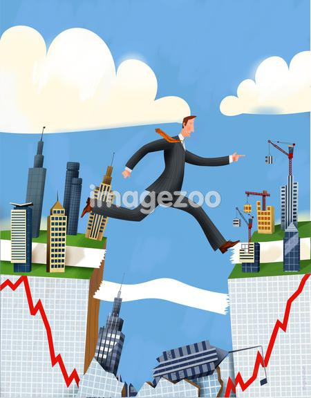 Illustration of a businessman jumping a gap and falling graph