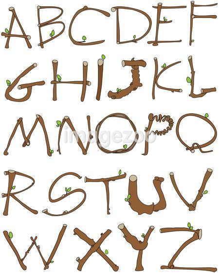 Alphabet made of branches