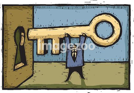 A man inserting a giant key into the keyhole